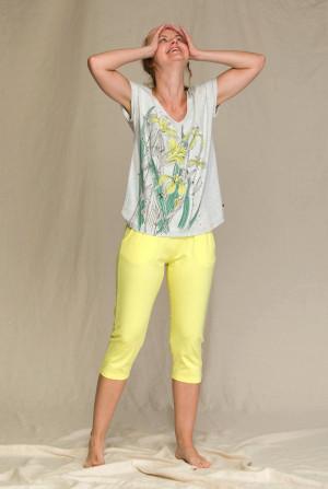 Dámské pyžamo Key LNS 923 1 A21 šedá-žlutá