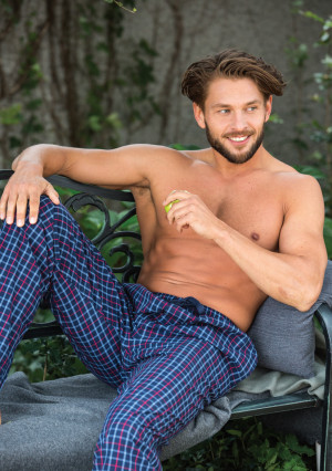 Pánské pyžamové kalhoty Key MHT 223 A21  tmavě modrá károvaná