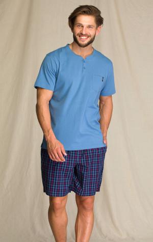 Pánské pyžamo Key MNS 223 A21 M-2XL modrá/tmavěmodrá