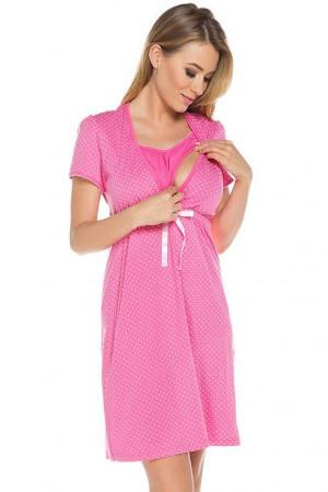 Bavlněná těhotenská noční košile Alena růžová růžová
