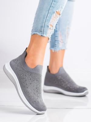 Komfortní šedo-stříbrné  tenisky dámské bez podpatku