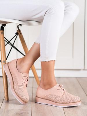 Komfortní  polobotky růžové dámské bez podpatku