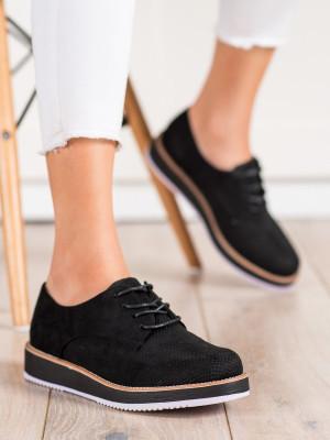 Luxusní  polobotky černé dámské bez podpatku