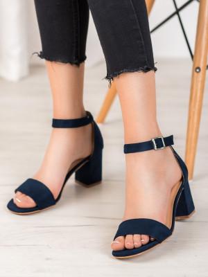 Trendy dámské  sandály modré na širokém podpatku