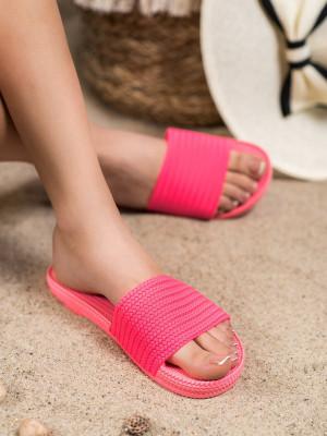 Moderní růžové dámské  nazouváky bez podpatku