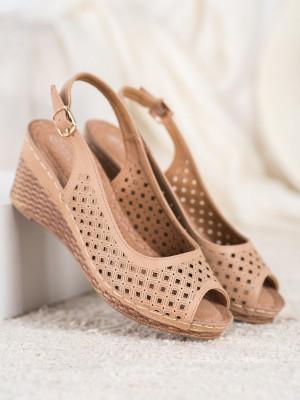 Stylové  sandály dámské hnědé na klínku