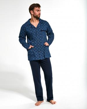 Pánské rozepínané pyžamo Cornette 114/44 dł/r M-2XL  tmavě modrá