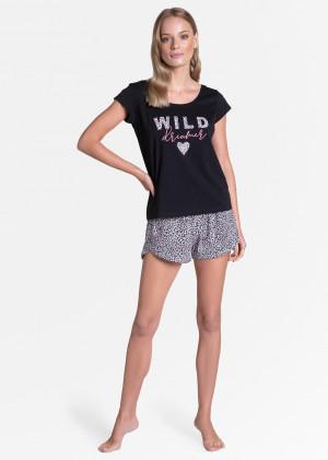 Dámské pyžamo Henderson Ladies 38894 Tiger kr/r S-XL černá