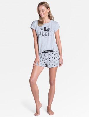 Dámské pyžamo Henderson Ladies 38902 Timber kr/r S-XL světle šedá