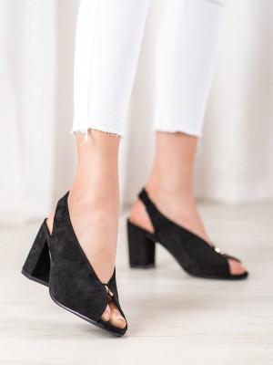 Trendy černé  sandály dámské na širokém podpatku