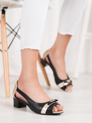 Komfortní dámské černé  lodičky na širokém podpatku