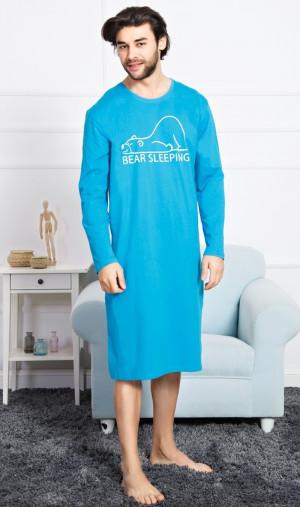 Pánská noční košile s dlouhým rukávem Bear - Gazzaz tyrkys