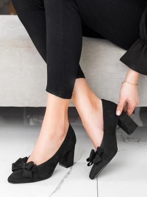 Praktické dámské černé  lodičky na širokém podpatku