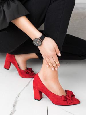 Krásné dámské  lodičky červené na širokém podpatku