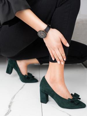 Luxusní zelené dámské  lodičky na širokém podpatku