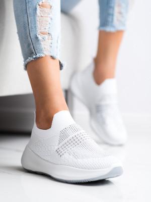 Stylové dámské  tenisky bílé bez podpatku