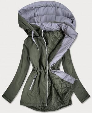 Dámská bunda v khaki barvě s kapucí (B2660-11032) khaki