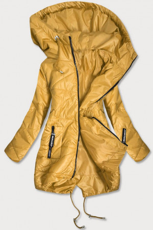 Žlutá prošívaná dámská bunda s asymetrickou spodní částí (B2709) žlutá S (36)