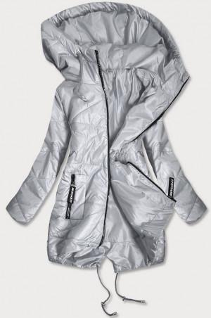Šedá prošívaná dámská bunda s asymetrickou spodní částí (B2709) šedá S (36)