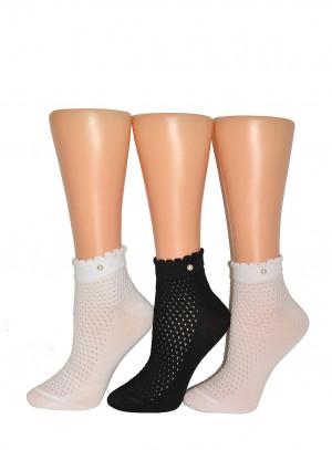 Dámské ponožky Milena Ažur, s perličkou 1122 bílá 37-41