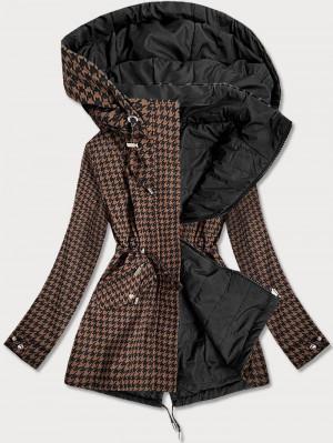 Hnědo-černá oboustranná dámská bunda s pepitovým vzorem (W506) hnědá S (36)
