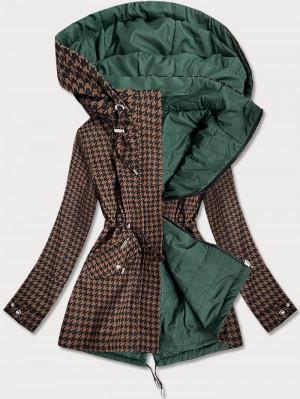 Hnědo-zelená oboustranná dámská bunda s pepitovým vzorem (W506) zelená S (36)