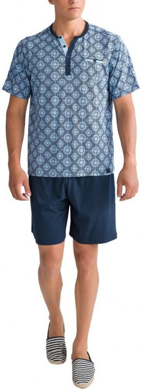 Pánské pyžamo 00-15 - 6181 - Vamp modrá oxford