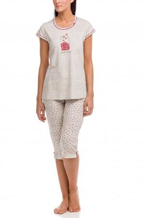 Dámské pyžamo 12100 - Vamp béžová-červená