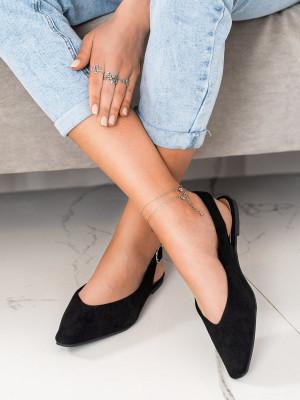 Luxusní černé dámské  lodičky bez podpatku