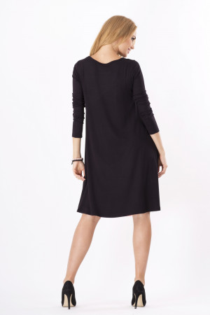 Dámské šaty volný střih 3/4 rukáv vhodné i pro těhotné středně dlouhé grafitové - Černá - BeYou grafit