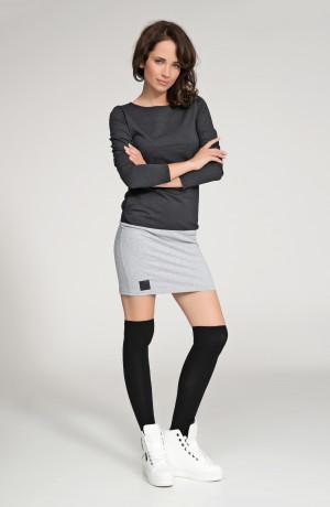 Dámské volnočasové krátké šaty šedo-černé - Černá - Numinou černá s šedou