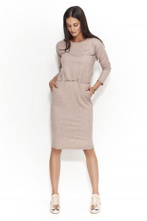 Dámské šaty s volným střihem středně dlouhé capuccino - Hnědá - Numinou hnědá