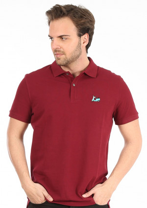 Pánské polo tričko John Frank JFTPOLO10 L Bordó