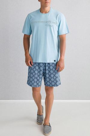 Pánské pyžamo 00-15-6180 - Vamp modrá oxford