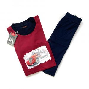 Pánské pyžamo Škodio G KR - Favab červená-modrá