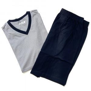 Pánské pyžamo CING V KR - Favab modro/šedá vzor