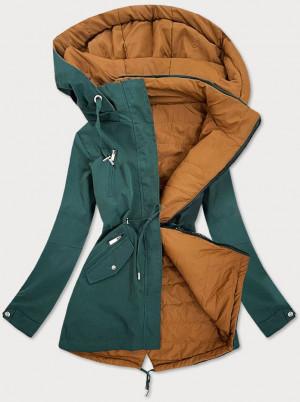 Zeleno-karamelová oboustranná dámská bunda (W505) zelená S (36)