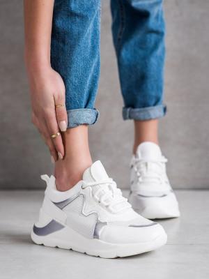 Módní dámské bílé  tenisky bez podpatku