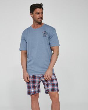 Pánské pyžamo KR 326/106 ONTARIO 2 modrá-žíhaná
