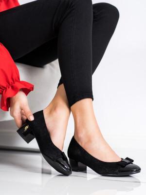 Luxusní  lodičky dámské černé na širokém podpatku