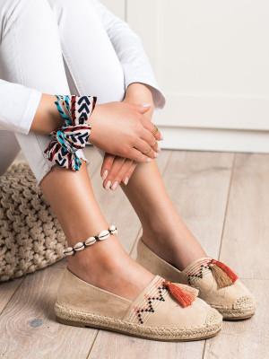 Designové  tenisky hnědé dámské bez podpatku