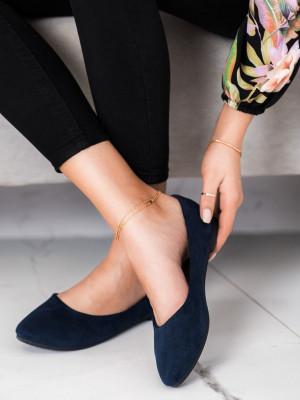 Exkluzívní dámské modré  baleríny bez podpatku