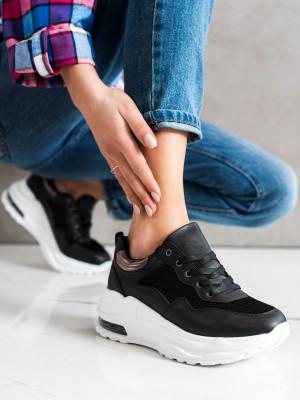 Trendy dámské  tenisky černé bez podpatku