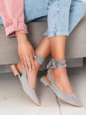 Exkluzívní šedo-stříbrné  lodičky dámské na plochém podpatku