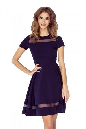 Dámské šaty s rukávy a sukní dlouhé tmavě modré - Tmavě modrá / XXL - Morimia