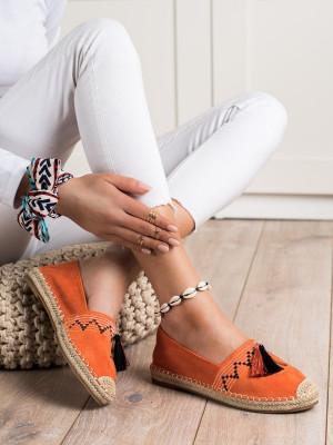 Krásné  tenisky oranžové dámské bez podpatku