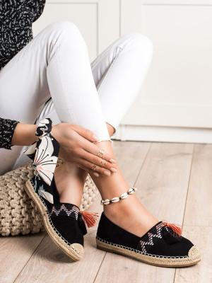 Stylové černé dámské  tenisky bez podpatku
