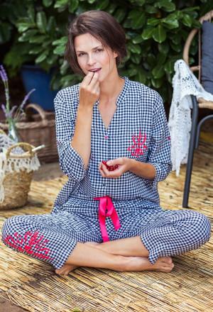 Dámské pyžamo Key LNS 451 A21 S-XL černá-bílá
