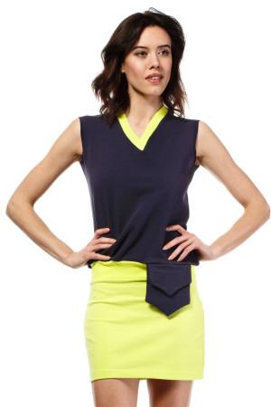Letní šaty mini značkové BeWear bez rukávu krátké tmavě modré - Tmavě modrá - BeWear
