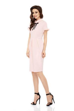 Dámské společenské šaty s límečkem, stužkou a krátkým rukávem dlouhé - Růžová / M - Lemoniade